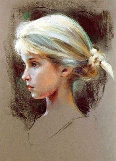 I love how the artist used a slight shade of blue in the girl's hair to bring out the shadows and highlights more
