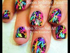 """Nail-art by Robin Moses: """"nail art"""" """"watercolor nails"""" rainbow nails lady gaga art pop nail nailart """"rainbow nail art"""" """"watercolor nail art"""". Splatter Nails, Neon Acrylic Nails, Neon Nails, Paint Splatter, Nail Pink, Pastel Nails, Yellow Nail, Colorful Nails, Neon Yellow"""