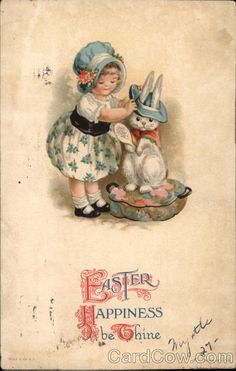 postcard easter children | Easter happiness be thine Ellen Clapsaddle With Children
