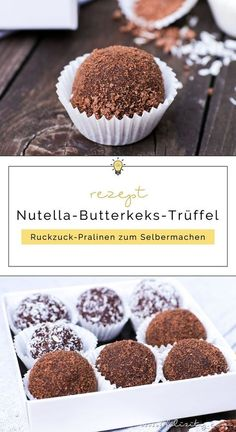 Dieses Rezept für Nutella-Butterkeks-Trüffel mit Kokos ist für d… Nutella fan? This recipe for Nutella shortbread truffles with coconut is for you! The delicious chocolates are ready in 5 minutes and ready to enjoy. Desserts Nutella, Nutella Cookies, Nutella Muffins, Easy Smoothie Recipes, Snack Recipes, Dessert Recipes, Biscuit Nutella, Pumpkin Spice Cupcakes, Delicious Chocolate