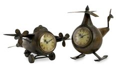 This whimsical clock set that includes an airplane and helicopter make for a unique way of keeping time.