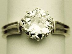 'Antique 2.10ct Diamond Solitaire Ring' - View our full collection of antique diamond engagement rings, at http://www.acsilver.co.uk/shop/pc/Diamond-Solitaire-Rings-c150.htm