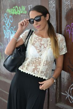 lace vintage blouse - romantic - ootd -outfit