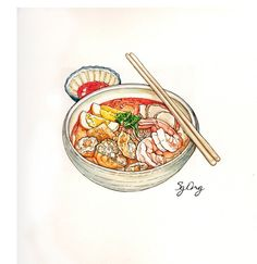 Curry Laksa (Curry Mee) 咖喱叻沙 is a spicy noodle soup with a variety of toppings. Such as: prawns, chicken, tofu puffs (fried bean curd tofu). Hand drawn watercolor painting by Sg Ong.