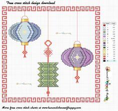Charming Chinese Lanterns Cross Stitch Pattern Free to Download Modern Cross Stitch, Cross Stitch Charts, Cross Stitch Designs, Cross Stitch Embroidery, Cross Stitch Patterns, Egg Carton Crafts, Dragon Crafts, Horse Crafts, Chinese Lanterns