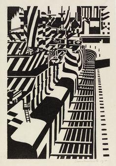 "yama-bato: "" Camouflaged ships in dry dock ('Dazzle ships') Wadsworth, Edward, born 1889 - died 1949 "" Ww1 Art, Dazzle Camouflage, Plakat Design, Razzle Dazzle, Collaborative Art, Wood Engraving, Illustrations, Art For Sale, Printmaking"