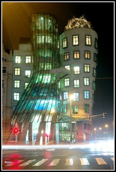 """The Dancing House (by night): Otherwise known as """"Fred & Ginger"""". To be seen by the River Vltava in Prague, Czech Republic."""