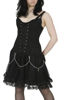 Lace-Up Black Gothic Dress with Chains