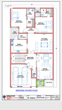 40x60 House Plans, Bungalow Floor Plans, Modern House Floor Plans, Narrow Lot House Plans, Simple House Plans, 2bhk House Plan, Model House Plan, Free House Plans, Duplex House Plans