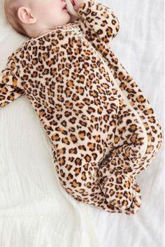 Ecru Animal Print Fleece Sleepsuit (0mths-3yrs)