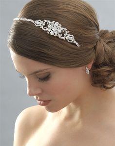 Side Wedding Headband, Vintage Designer Crystal Headbands