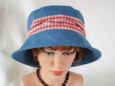 Jeans Hat  Garden Hat  Beach Hat  Summer Hat   by MermaidsHatbox