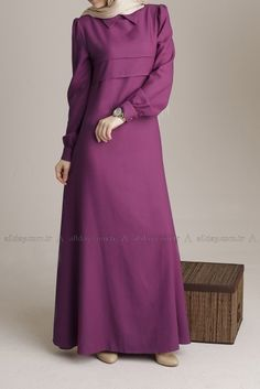 Purple slim look abaya / gamis Abaya Fashion, Modest Fashion, Fashion Dresses, Modest Long Dresses, Modest Outfits, Moslem Fashion, Stylish Hijab, Modele Hijab, Hijab Trends