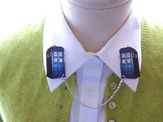 Doctor Who Tardis Geekery Brooch Double Collar by whatanovelidea, $26.00