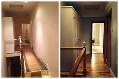 Upstairs hall before/(almost) after