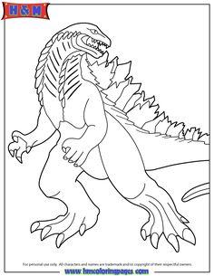 new 2014 godzilla coloring page - Printable Godzilla Coloring Pages