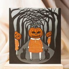 The Pumpkin Girls Halloween Cat Original Folk by KilkennycatArt, $65.00