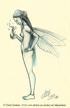 Sketch of a fairy (I). © Marta Sarmiento, 2015. www.martash.com www.facebook.com/dibujandohadas