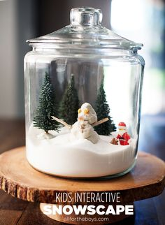 Kids interactive winter decoration - a snowscape they can set up and change everyday- Very cute. We used an upside down apple sauce glass jar. Christmas Love, All Things Christmas, Christmas Holidays, Holiday Crafts, Holiday Fun, Crafts For Kids, Diy Crafts, Holidays With Kids, Winter Fun