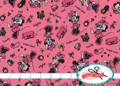 DISNEY MINNIE MOUSE Fabric by the Yard, Fat Quarter, Pink & Black Fabric Minnie Mouse Fashionista Fabric 100% Cotton Fabric Quilting Fabric by FabricBrat on Etsy