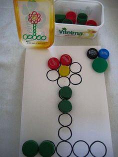 Metodologias para a reutilização de tampinhas plásticas de garrafas na escola, para fazer artes, trabalhar com coordenação motora, cont...