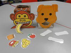 Tissue box (eten in de mond van de dieren stoppen: de aap eet een banaan, de aap heeft een banaan gegeten enz.)  http://carriesspeechcorner.blogspot.nl