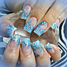 Winter swirl acrylic nails
