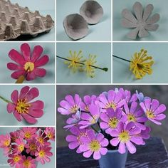 DIY egg carton flower craft is a great way to recycle paper pulp egg cartons. Here is a nice DIY project to make beautiful flower lights from egg cartons. Egg carton flower crafts are a great way to recycle paper pulp egg cartons. Today I am excited to fe Egg Carton Art, Egg Carton Crafts, Egg Cartons, Butterfly Flowers, Diy Flowers, Paper Flowers, Flower Petals, Flower Diy, Handmade Flowers