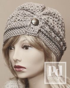 Crochet ruched beanie pattern - *Inspiration* I like the button tab on the front