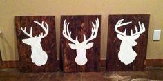 3 Wooden Deer Silhouette Paintings 16x24 on Etsy, $170.00