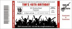 Rock Concert Red birthday ticket invitations are available in print it yourself PDF format.