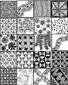 Zentangle+Patterns+for+Beginners | ... printable sheets to serve as a quick reference for zentangle patterns
