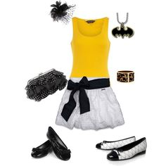 Yellow and Black Batman's Girlfriend, created by #mommystilletos on #polyvore. #fashion #style Dorothy Perkins Abercrombie & Fitch
