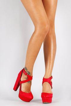 Cherry Red Leatherette Ankle Cutout Cross Strap Platform Heel