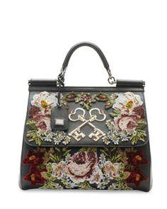 V20FJ Dolce & Gabbana Miss Sicily Embroidered Keys Satchel Bag, Black