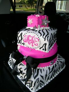 Girls  Year Old Birthday Cake Zebra Print  Tear