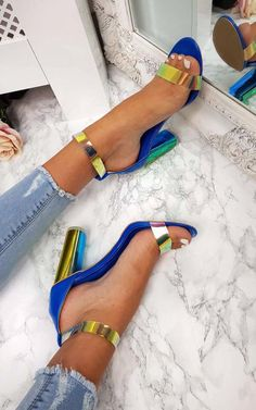 Blue Freja Iridescent Barely There Block Heels. Our must have heels this season is our 'FREJA' style! Featuring a clear perspex material, iridescent… Hot Shoes, Crazy Shoes, Women's Shoes, Me Too Shoes, Shoe Boots, Shoes Sneakers, Pretty Shoes, Beautiful Shoes, Cute Heels