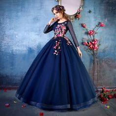 Quality real navy blue embroidery beading vine ball gown medieval dress Renaissance Gown queen cosplay Victorian /Marie Belle Ball with free worldwide shipping on AliExpress Mobile Princess Prom Dresses, Royal Dresses, Quince Dresses, Ball Dresses, Dress Prom, Prom Dresses Long With Sleeves, Simple Dresses, Pretty Dresses, Beautiful Dresses