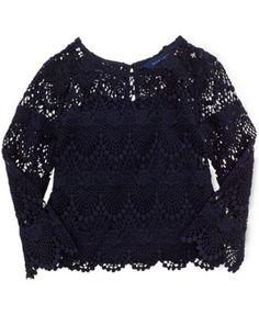 Ralph Lauren Little Girls' Lace Top   | macys.com