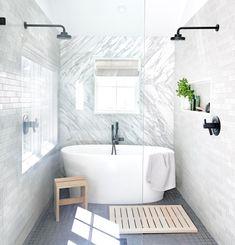 The Citizenry Cofounder Carly Nance Takes Us Inside Her Art-Filled Dallas Home walk in shower room w Grey Bathroom Floor, Grey Bathrooms, Bathroom Flooring, Modern Bathroom, Small Bathroom With Tub, Compact Bathroom, Luxury Bathrooms, Master Bathrooms, Bathroom Renos