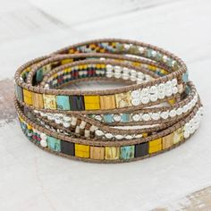 9bc6729d509 Handcrafted Glass Beaded Wrap Bracelet from Guatemala - Distant Lights