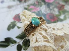 Victorian 14K Turquoise Ring  Gold Turquoise by AndOnToWillow
