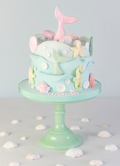 ☀️🐳🌸Happy First Day of Summer! 🌸🐳☀️ How gorgeous and creative is this beach themed cake by ? Baby Boy Birthday Cake, Mermaid Birthday Cakes, Mermaid Cakes, Ocean Cakes, Beach Cakes, Cute Cakes, Yummy Cakes, Beautiful Cakes, Amazing Cakes