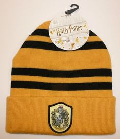 b4d8690b764 Hufflepuff - Harry Potter Beanie Hat Winter Warm Cosplay House Patch Badger  Cuff  Bioworld