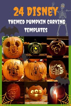 24 Disney-Themed Halloween Pumpkin Carving Templates - Even though Halloween is over ... pin so you'll have this for next year!!!