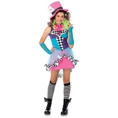 Womens BuySeasons Deluxe Mayhem Mad Hatter Teen Costume ($35) ❤ liked on Polyvore featuring costumes, brown, tops & tees, deluxe costumes, deluxe adult costumes, adult halloween costumes, adult women costumes and adult costumes