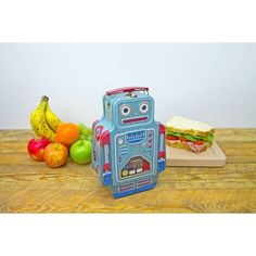 Keep your food safe in this retro tin lunchbox. Shaped like a classic robot, with plenty of space for all of your lunch essentials: sandwiches, fruit and even a cheeky chocolate bar! Throw away the p. Vintage Robots, Retro Robot, Tin Lunch Boxes, Cool Robots, Sandwiches For Lunch, Furniture Care, Space Theme, Safe Food