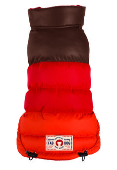 Brown/Red/Orange Colorblock Vintage Style Dog Puffer Coat by fabdog - available at fabdog.com