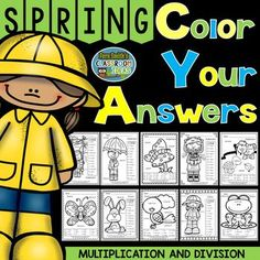 Ten Spring Time Color Your Answers Worksheets for Two-Step Multiplication and Two-Step Division, Answer Keys Included.
