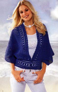 Navy Cardigan free crochet graph pattern Moss ༺✿ƬⱤღ https://www.pinterest.com/teretegui/✿༻
